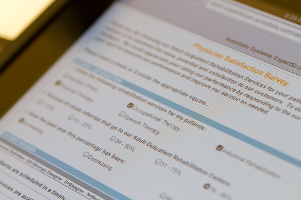 NetE-nable survey displayed on a tablet